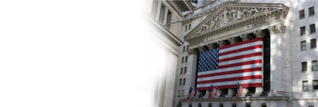 Image of American flag drapped over the New York Stock Exchange Building Pillars